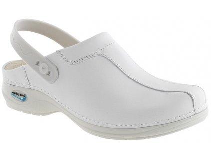 MADRID pracovní kožená pratelná obuv s certifikací unisex s páskem bílá WG2P10 Nursing Care