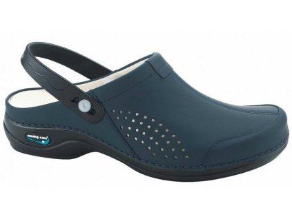 VENEZA pracovní kožená pratelná obuv s certifikací unisex s páskem tmavě modrá WG3AP03 Nursing Care