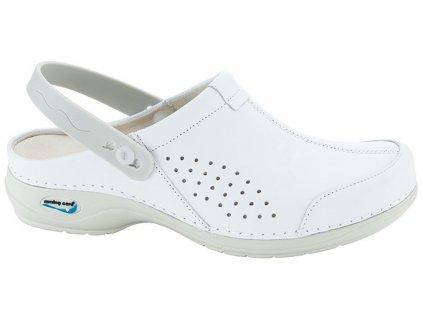 VENEZA pracovní kožená pratelná obuv s certifikací unisex s páskem bílá WG3AP10 Nursing Care