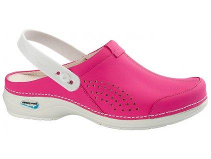 VENEZA pracovní kožená pratelná obuv s certifikací s páskem fuchsiová WG3AP09 Nursing Care