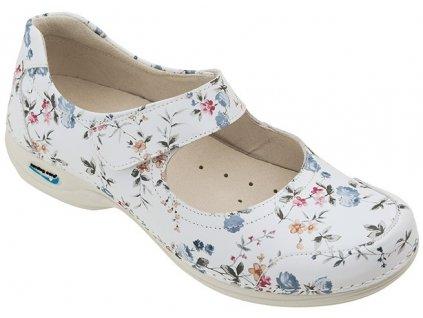 EVORA pracovní kožená pratelná obuv s certifikací dámská květy WG5F1 Nursing Care