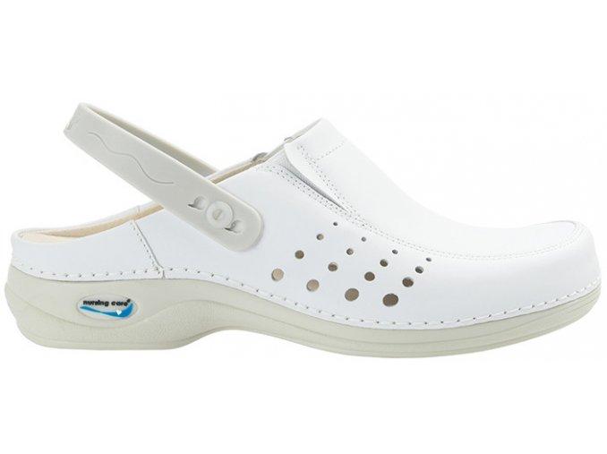 BERLIM pracovní kožená pratelná obuv s certifikací unisex s páskem bílá