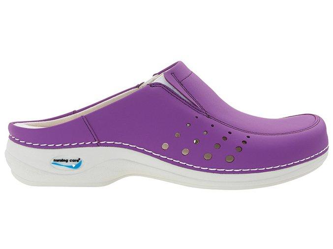 BERLIM pracovní kožená pratelná obuv s certifikací dámská bez pásku purpurová