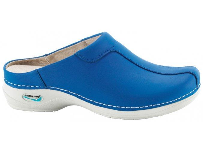 MADRID pracovní kožená pratelná obuv s certifikací unisex bez pásku modrá