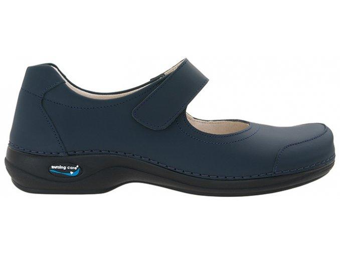 EVORA pracovní kožená pratelná obuv s certifikací dámská tmavě modrá