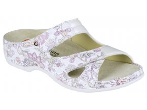 JANNA halluxový pantofel dámský bílý s květy Berkemann