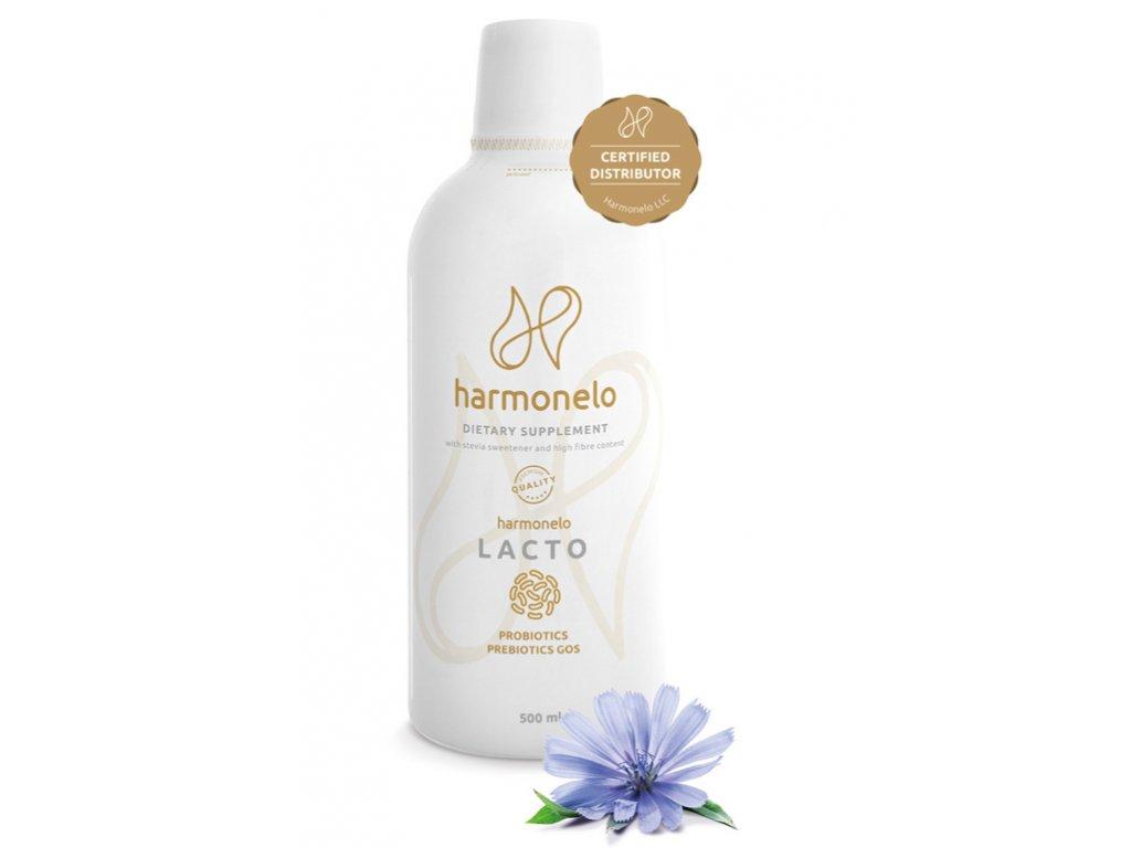Harmonelo Lacto 500 ml - hladké zažívání po celý den  obsahuje probiotika a prebiotika GOS, bohaté na lactobacily