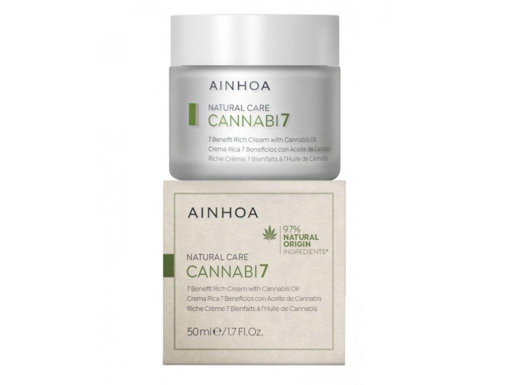 Ainhoa Cannabi7 Cream 50 ml - víceúčelový pleťový krém s konopným olejem  zajišťuje extra výživu a hydrataci, pleť regeneruje, zklidňuje a zjemňuje