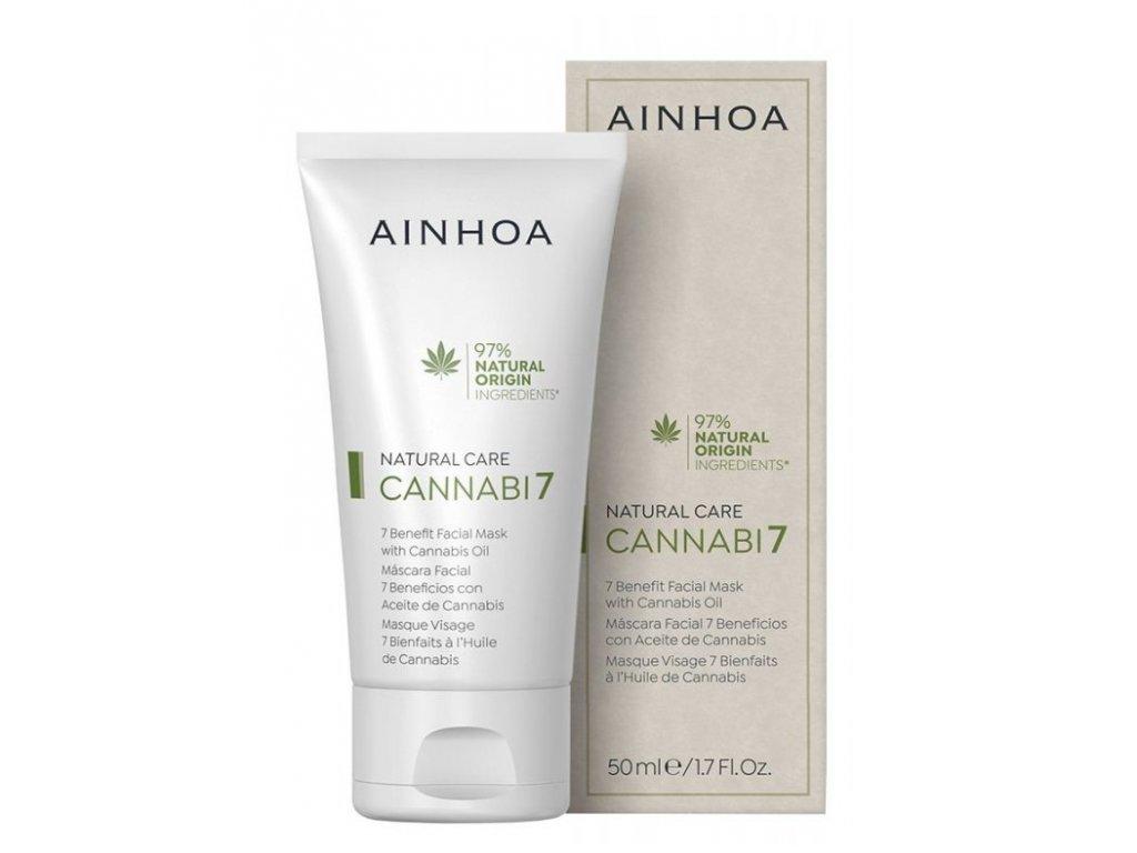 Ainhoa Cannabi7 Mask 50 ml - pleťová maska s konopným olejem  odstraňuje hrubost pleti a jemné linky a vrásky
