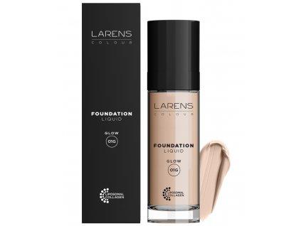 Larens Colour Liquid Foundation Glow 30 ml - pečující rozjasňující make-up  vyrovnává barevný tón pleti, jemně odráží světlo a přináší efekt zářivé a hladké pokožky
