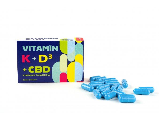 Vitamín K+D3 s cbd - 30 kapslí