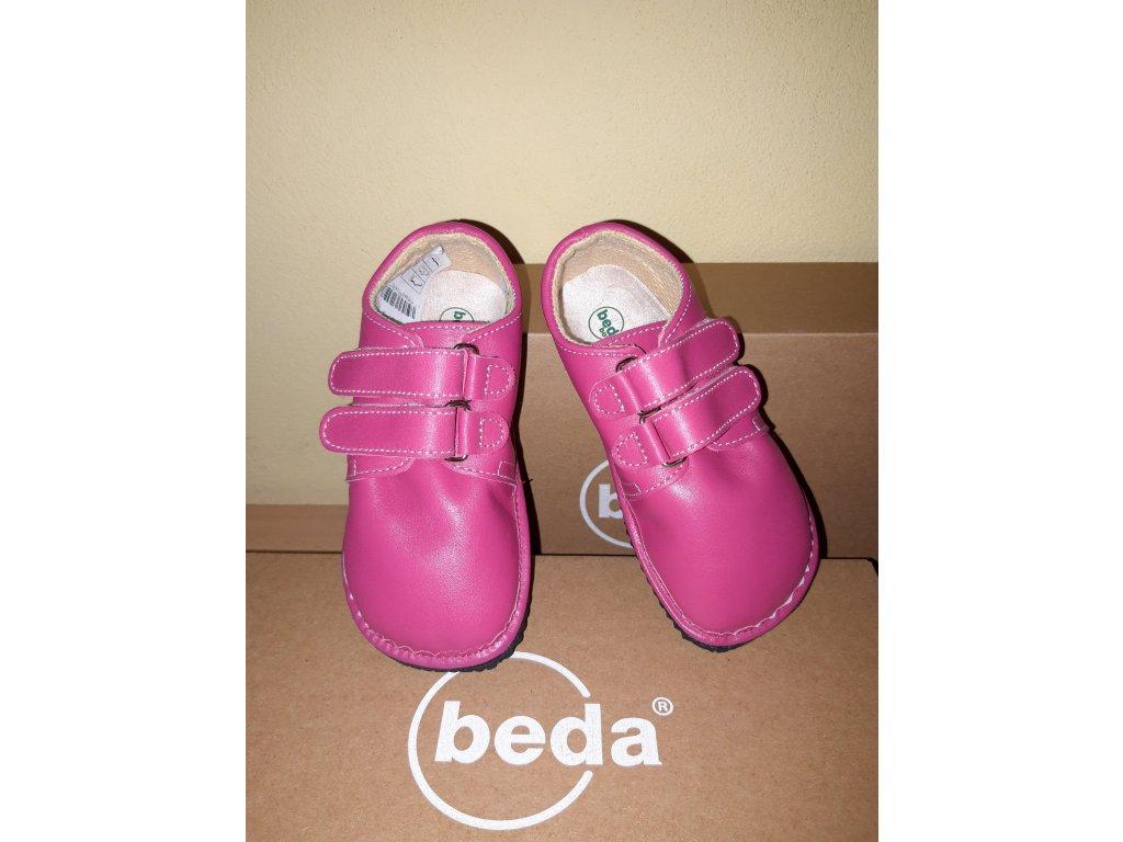 Beda barefoot kožená obuv sytě růžová