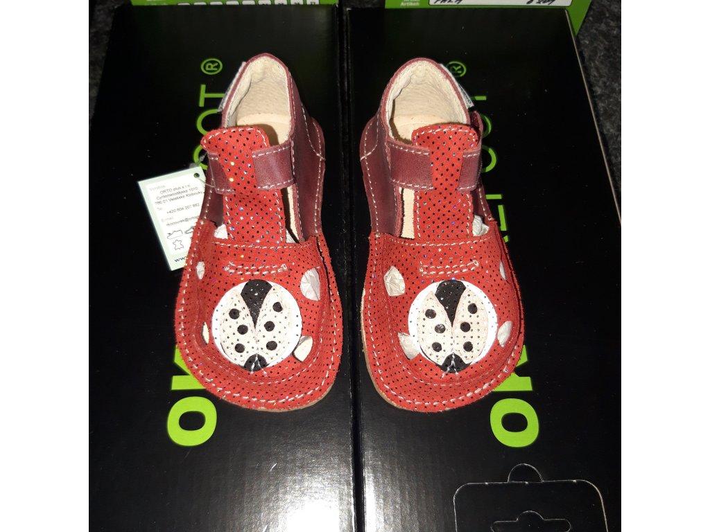 OKbarefoot dívčí sandálky Ithaka V4 beruška