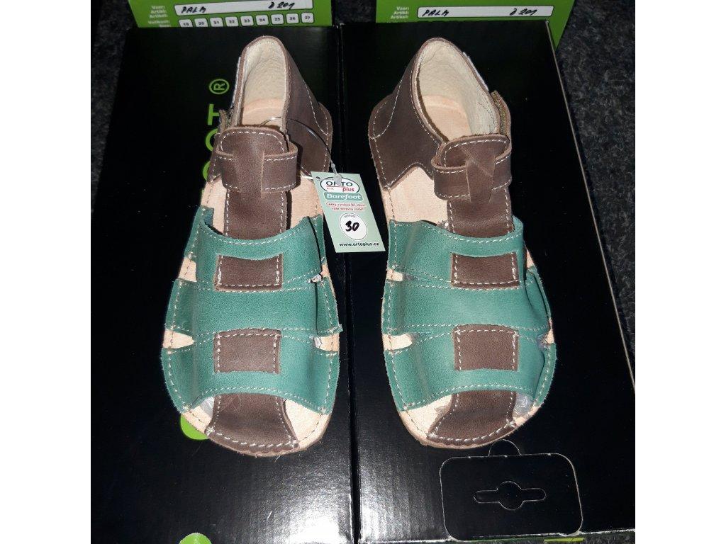 OKbarefoot chlapecké sandálky Palm hnědá/sv.zelená