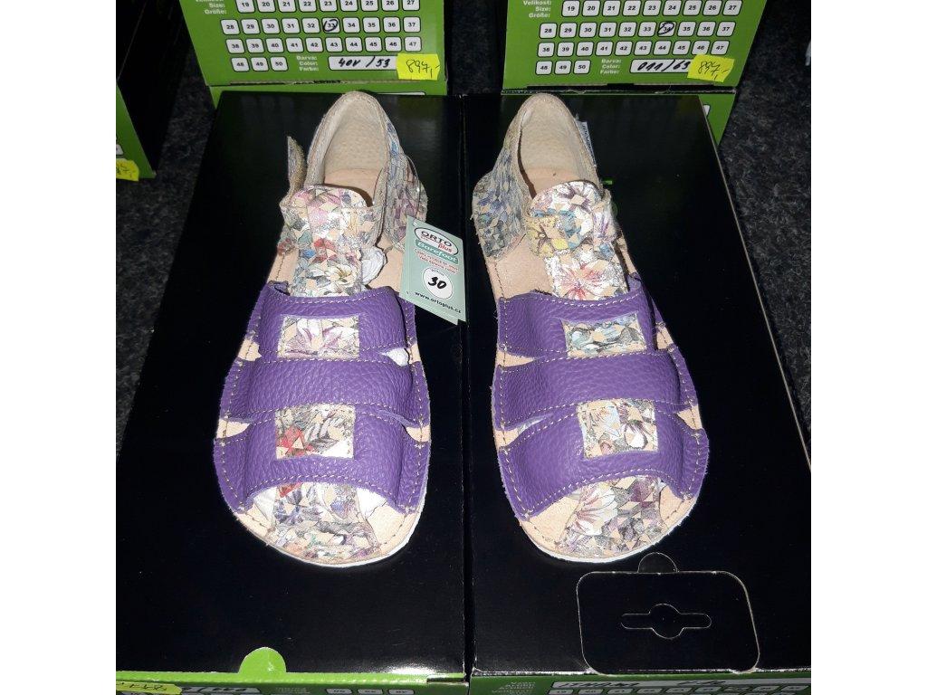 OKbarefoot dívčí sandálky Palm fialová/lesklé květy