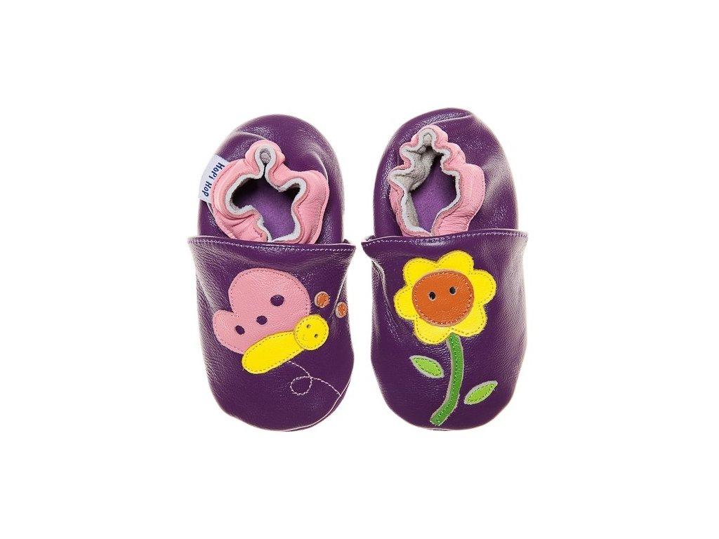 HOPI HOP měkké kožené capáčky - fialový motýlek a slunečnice
