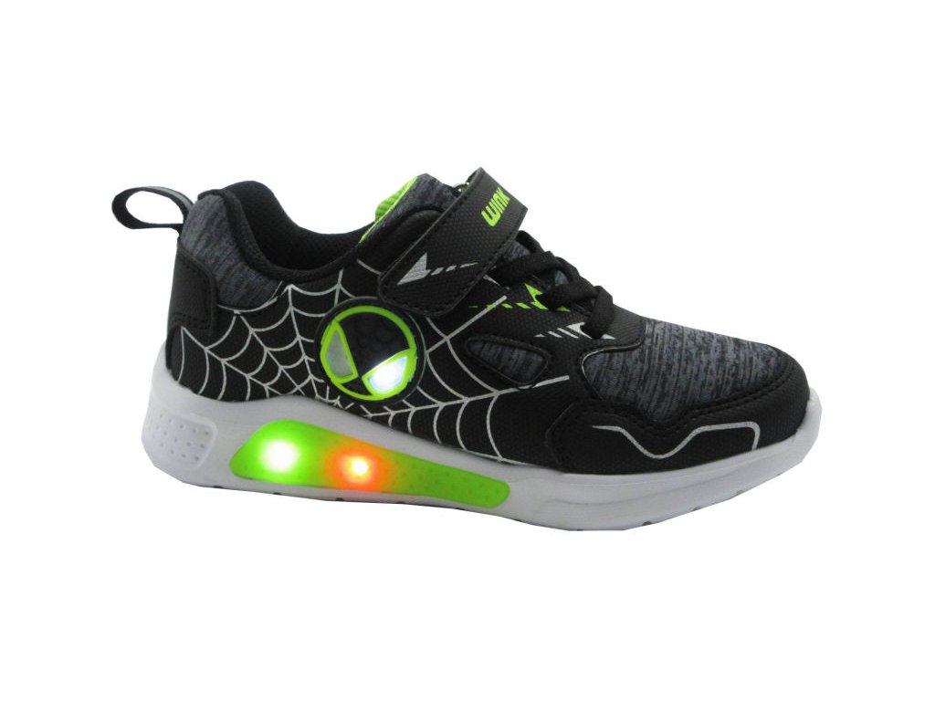WINK sport chlapecké tenisky svítící/blikací Black lime