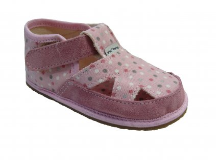 "Pegres ""Bosé"" textilní sandálky růžový puntík"