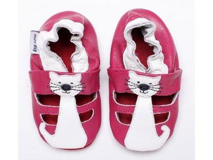 HOPI HOP kožené capáčky - sandálky - růžová kočička