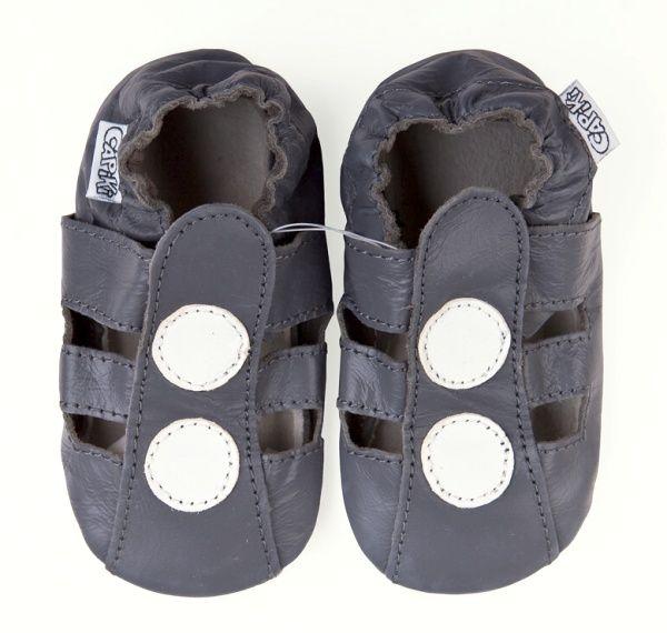 CAPIKI měkké kožené capáčky - sandálky tmavě šedé Velikost: 6-12 m