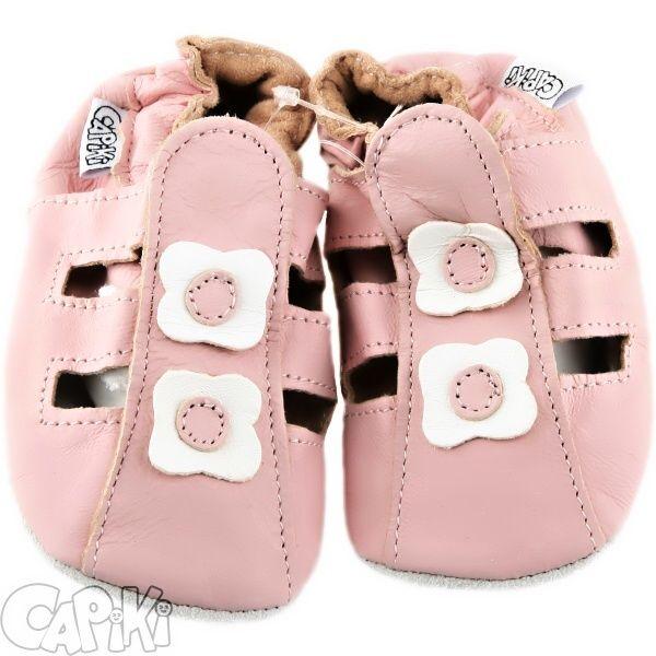 CAPIKI měkké kožené capáčky - sandálky růžové Velikost: 2 - 3 roky