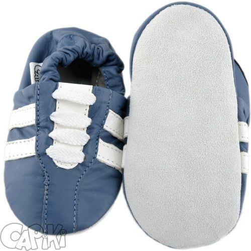 CAPIKI měkké kožené capáčky - tenisky modré Velikost: 0-6 m