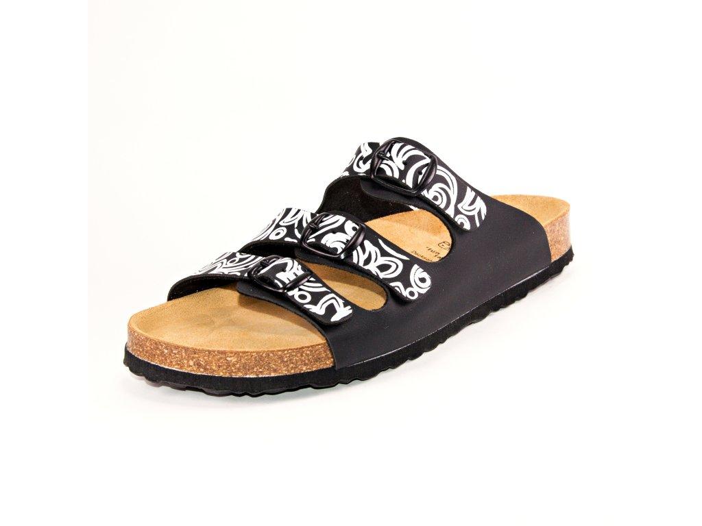 Dámské pantofle LICO artikl 560012 černé/bílé