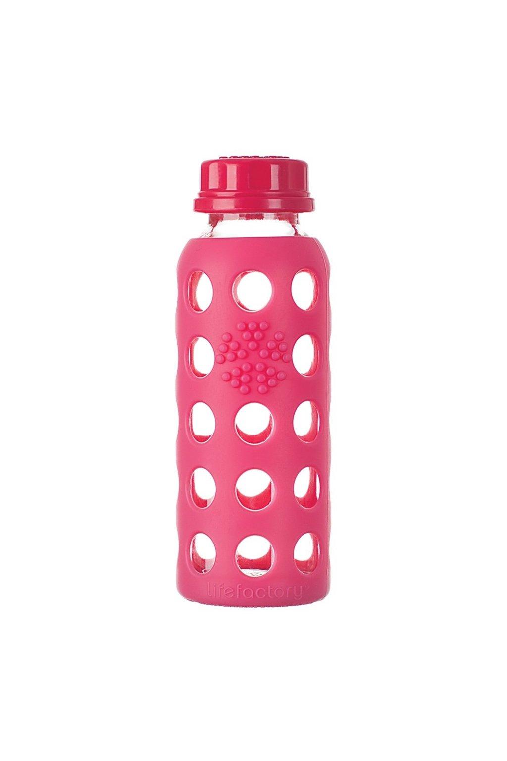 Skleněná láhev pro děti Lifefactory 260 ml ružová