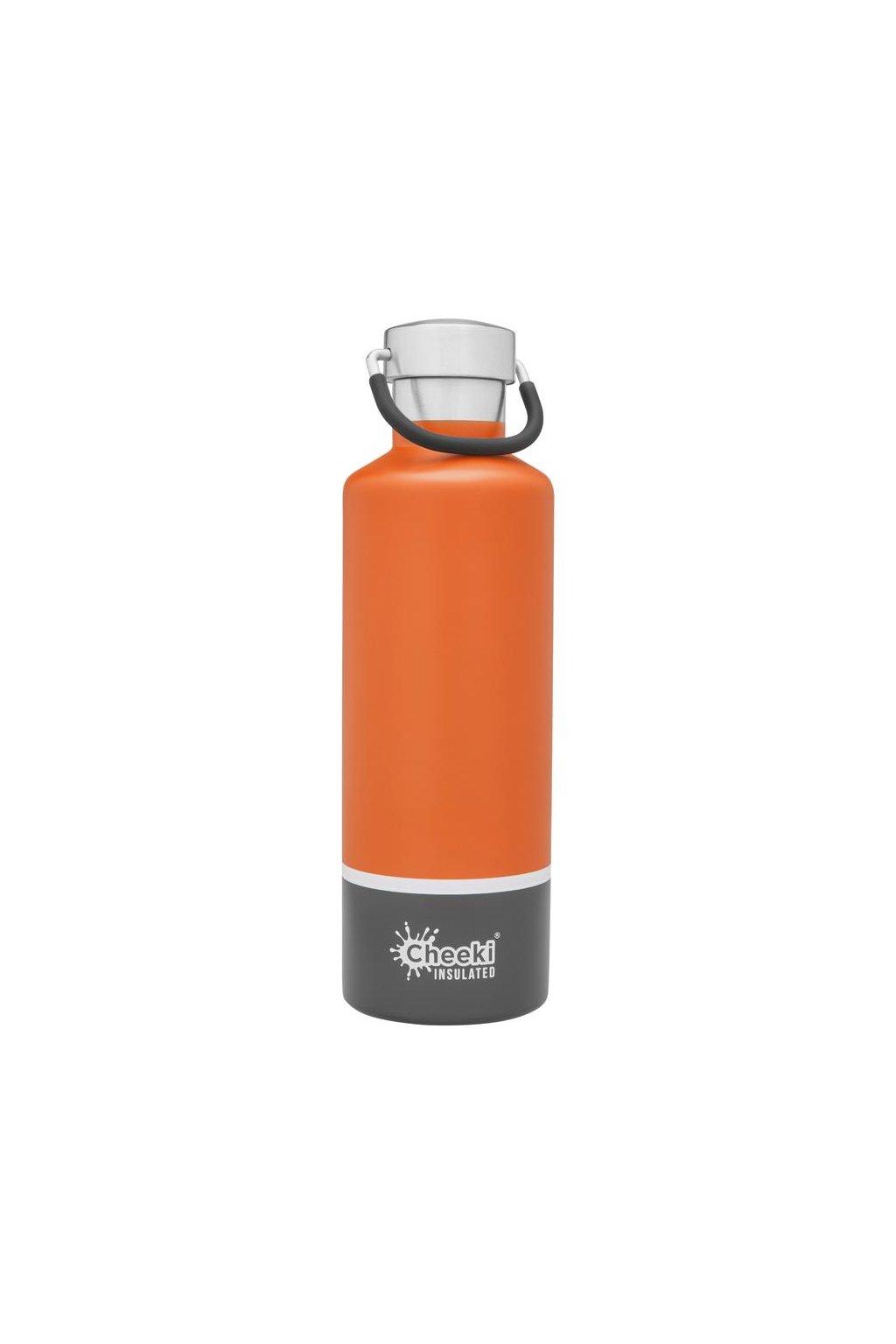 cheeki termoflasa 600ml Insulated Classic OrangeGrey Front