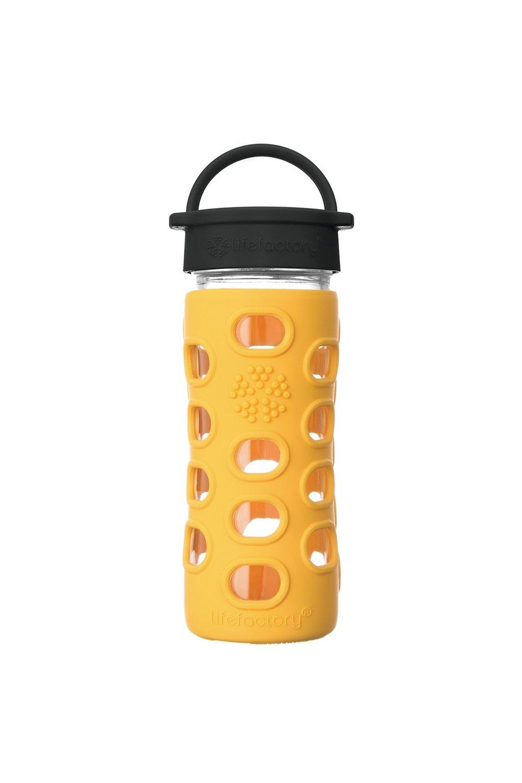 Sklenena flasa do skoly Lifefactory 350 ml marigold