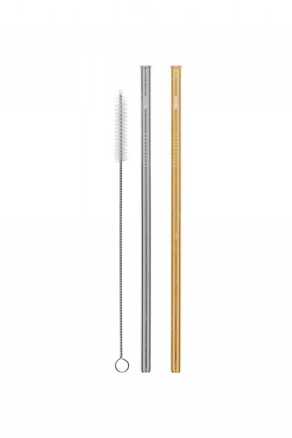 Nerezové slamky Cheeki silver + gold - 2ks s kefkou na čistenie