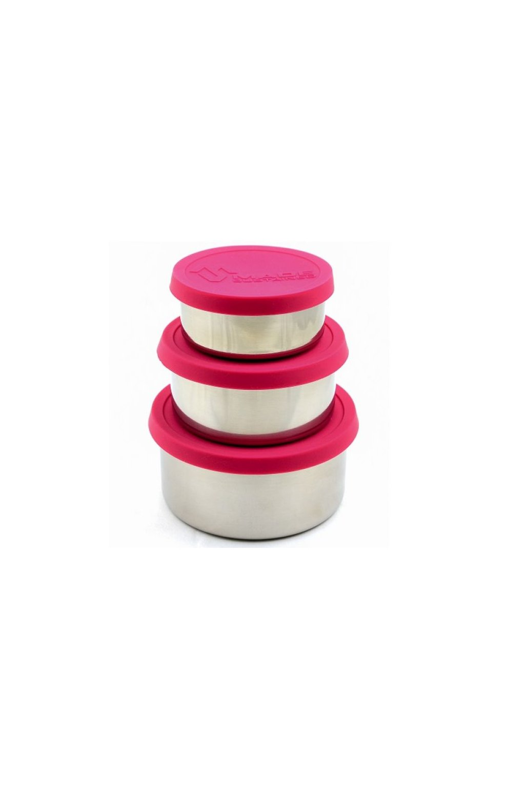 Made Sustained sillicon round lunchbox set Magenta1