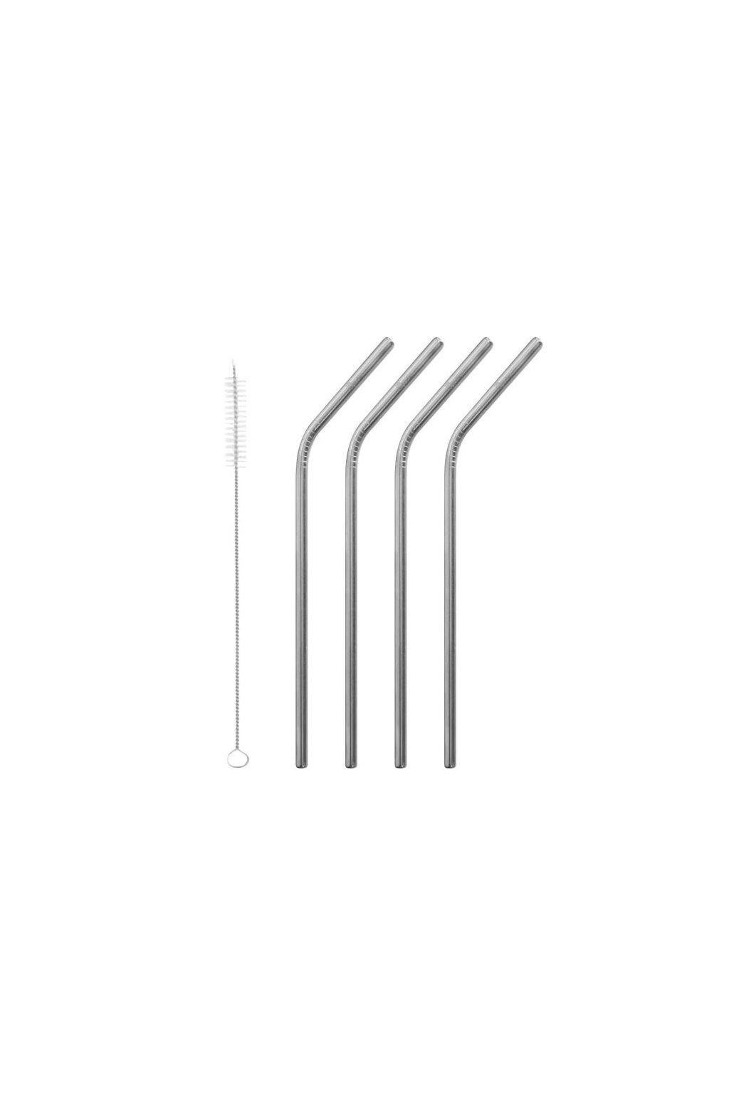stainless steel bent straws brushed steel set of 4 brush