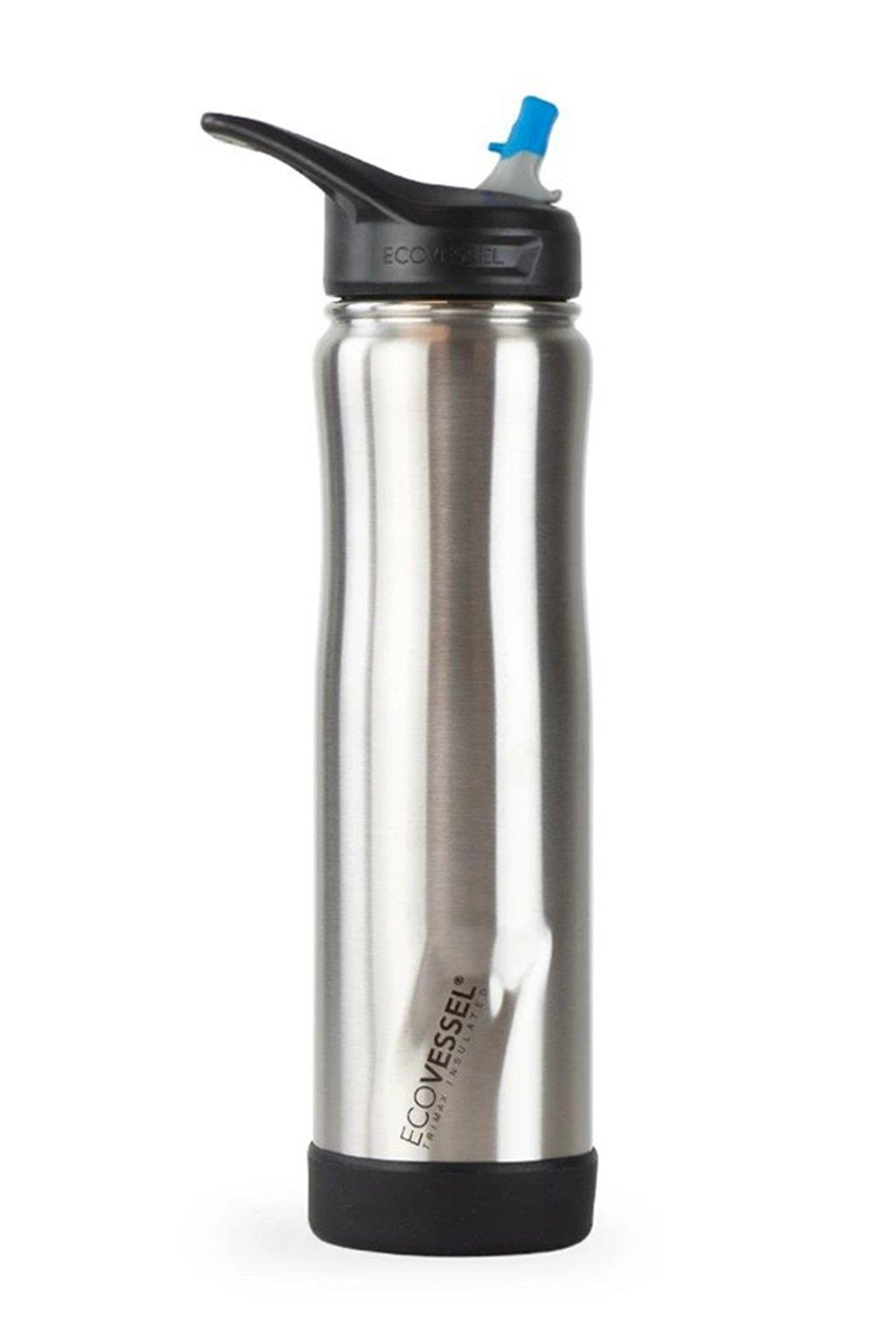 Termo flasa na vodu so slamkou Eco Vessel 0,7 L strieborna