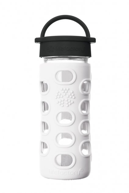 Detska sklenena flasa na vodu Lifefactory 350 ml Optic white