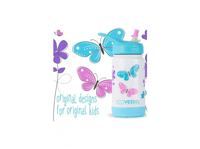 Termoflasa Eco Vessel detska 400ml fialova s motylikmi