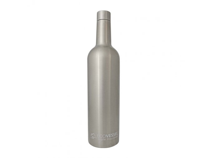 eco vessel vine trimax triple insulated stainless steel wine bottle 750ml strieborna