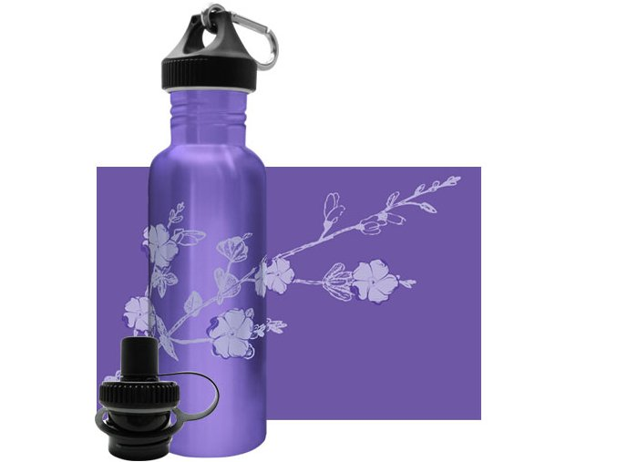 Flasa Green Bottle Purple Blossoms