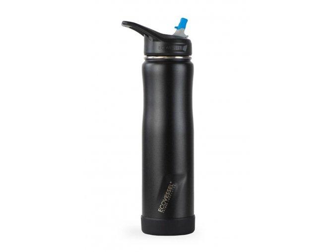 Sportova termofľasa so sosakom a slamkou Eco Vessel 670 ml cierna