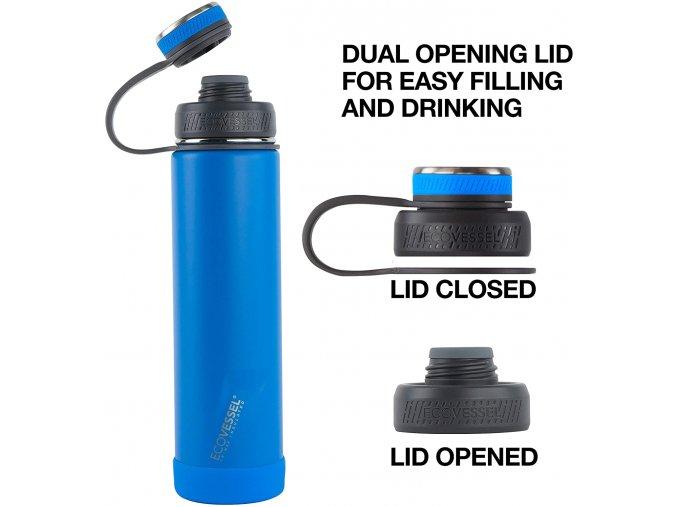 Termo fľasa 1 liter termoska Eco Vessel 950 ml fialova