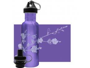 Flasa Green Bottle Purple Blossoms