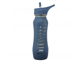 Sklenena flasa Eco Vessel 650 ml so sosakom modra