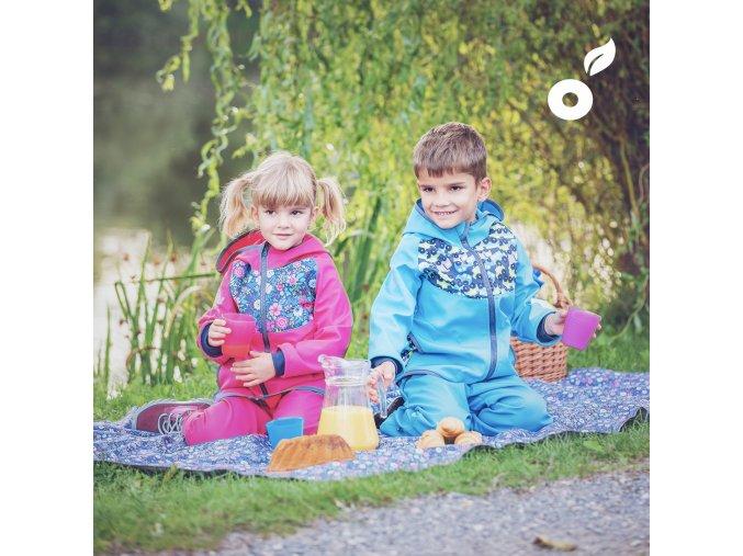 UNUO Softshelová bunda s fleecem Autíčka tyrkysová