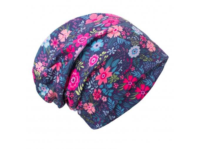 UNUO Fleecová čepice Květinky