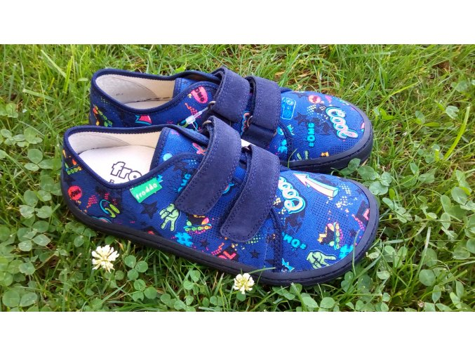 Froddo Barefoot plátěnky modré s obrázky