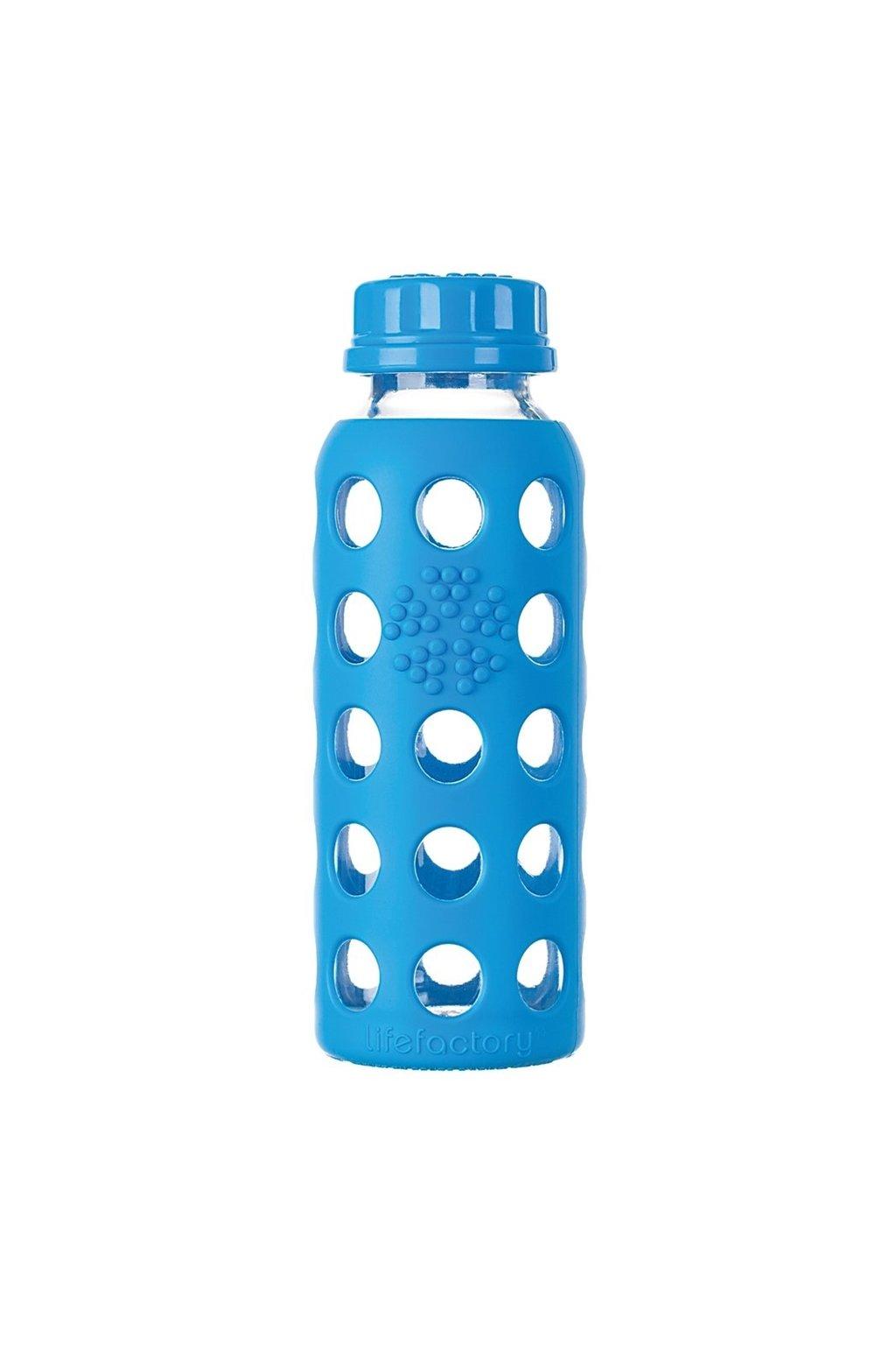 Skleněná láhev pro děti Lifefactory 260 ml modrá
