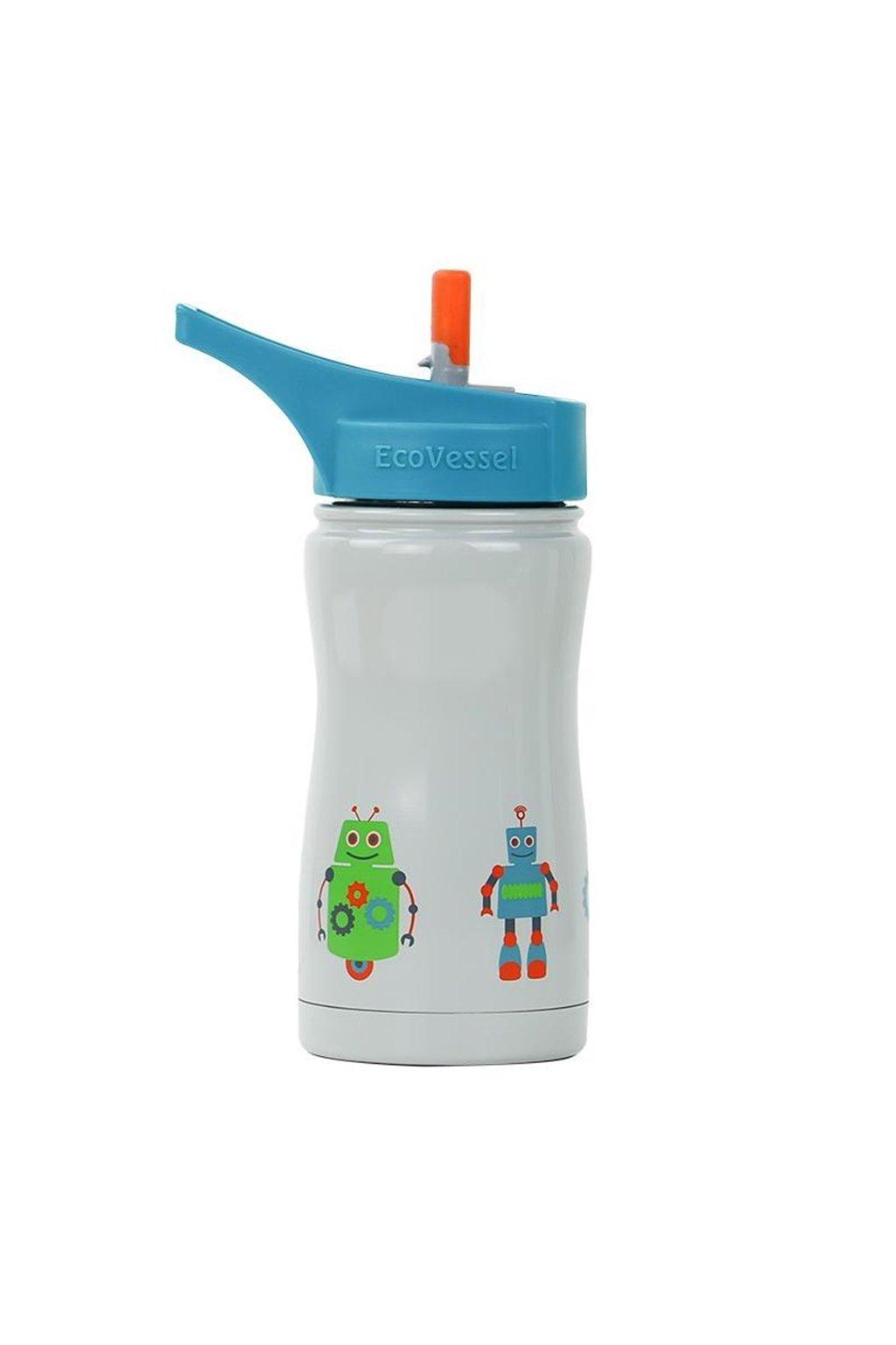 Termofľaša pre deti Eco Vessel 370 ml sivá s robotmi