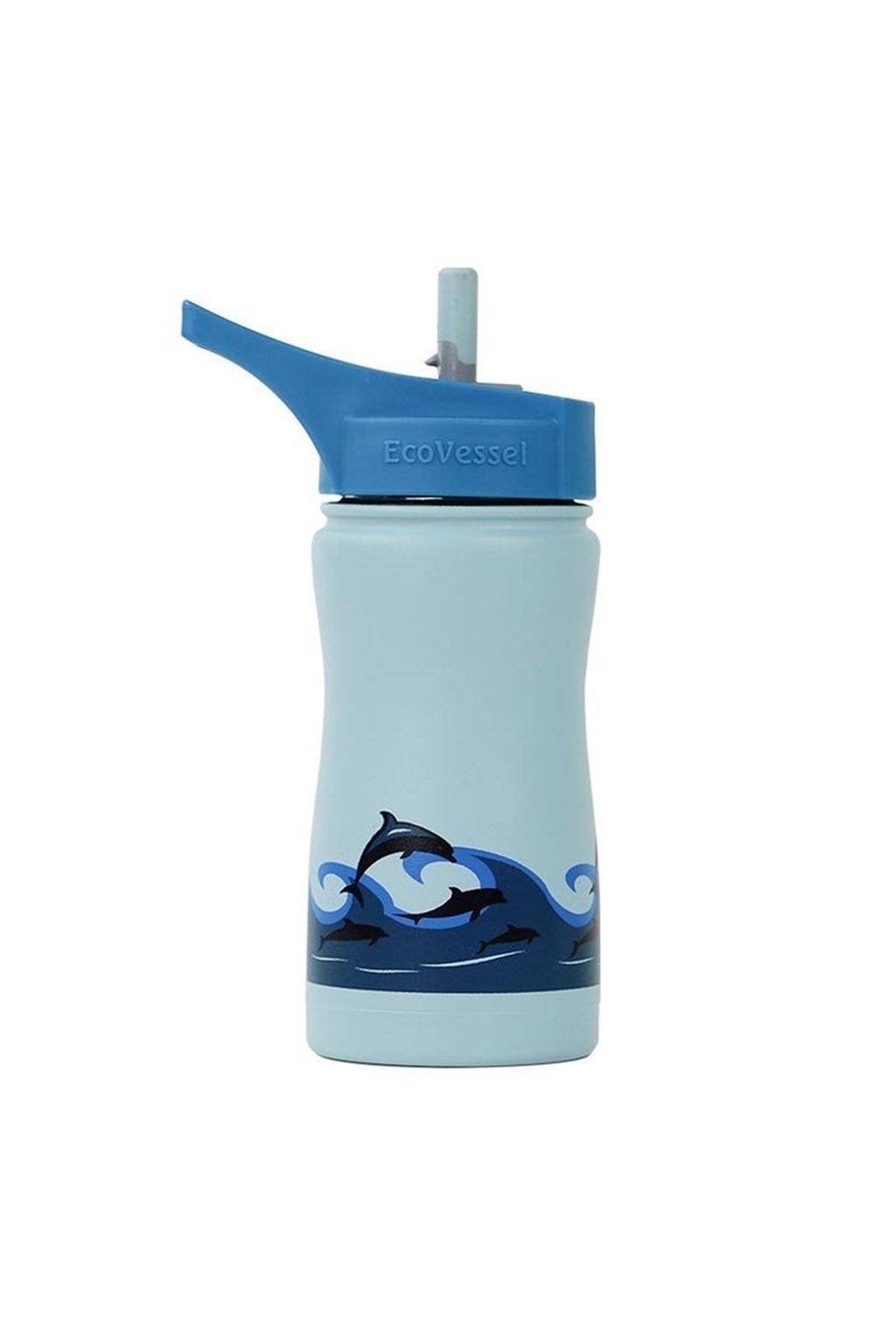 Detská termofľaša Eco Vessel 370 ml modrá s delfínmi