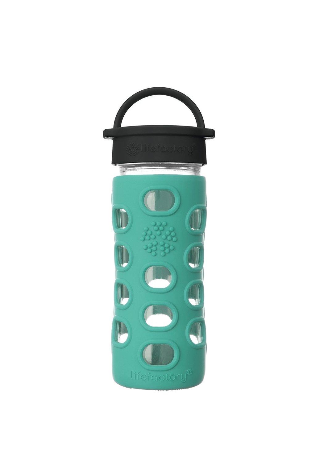 Skleněná láhev na vodu s víčkem Lifefactory 350 ml Kale