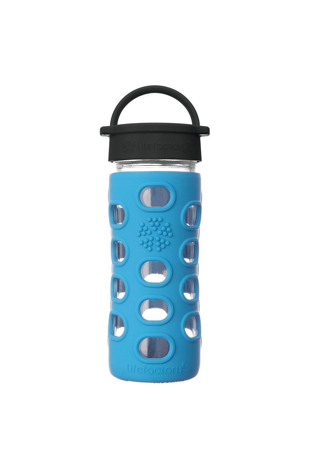 Skleněná lahev do školy Lifefactory 350 ml ocean modrá